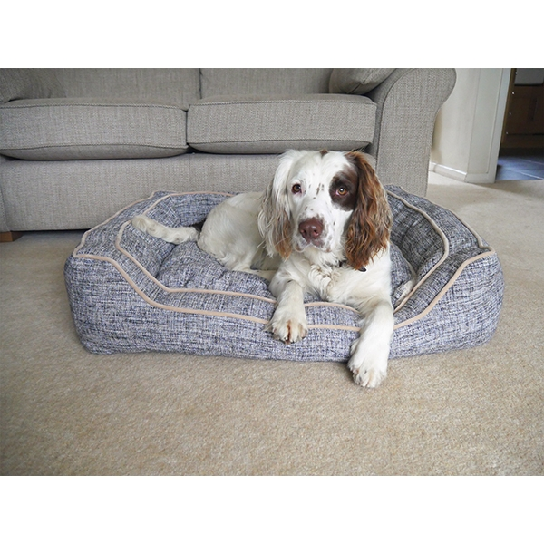 Luxury Slate And Oatmeal Square Bed Rosewood Pet