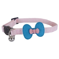 Designer pink and teal bow cat collar