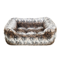 Brown Cosy Fur Print Square Bed